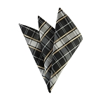 DH-139 | Honey Gold Stripe on Black and Silver Plaid Men's Woven Handkerchief