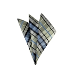 DH-140 | Light Yellow, Steel Blue and Black Plaid Men's Woven Handkerchief