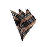 DH-141 | Honey, Lite Coral and Black Plaid Men's Woven Handkerchief