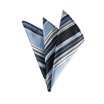 DH-150 | Powder Blue and Navy Blue Multi-Striped Men's Woven Handkerchief
