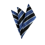 DH-152 | Peacock Blue and Black Wide Alternating Striped Men's Woven Handkerchief