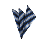 DH-153 | Peacock Blue, Black and Silver Multi-Repp Striped Men's Woven Handkerchief