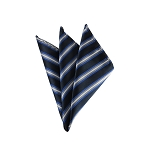 DH-154 | Navy Blue, Royal Blue and Silver Narrow Striped Men's Woven Handkerchief