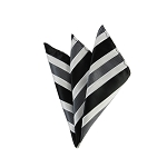 DH-159 | Black, White and Charcoal Gray Mesh Stripe Men's Woven Handkerchief