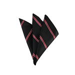 DH-161 | Narrow Red Stripe on Black Mesh Pattern Men's Woven Handkerchief