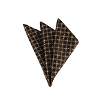 DH-166 | Cinnamon, Beige and Black Checkered Men's Woven Handkerchief