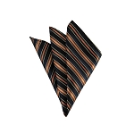 DH-167 | Cinnamon, Honey Gold and Navy Blue Alternating Stripe Men's Woven Handkerchief