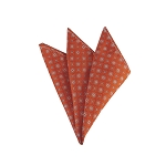 DH-168 | Orange and Steel Blue Geometric Pattern Men's Woven Handkerchief