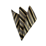 DH-171 | Honey Gold, Black, and Khaki Brown Multi-Color Vertical Stripe Men's Woven Handkerchief