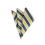 DH-173 | Black, Steel Blue, White and Light Yellow Striped Men's Woven Handkerchief