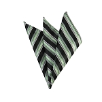 DH-175 | Sage Green, Black and Silver Multi-Repp Striped Men's Woven Handkerchief