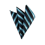 DH-178 | Two Toned Blue On Black Twill Striped Men's Woven Handkerchief