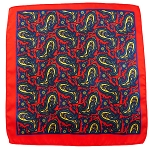 PH-01A | Red w. Navy Blue and Gold Multi-Colored Paisley Handkerchief