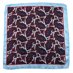 PH-01B | Powder Blue w. Royal Blue and Red Multi-Colored Paisley Handkerchief