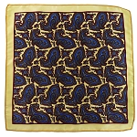 PH-01C | Light Yellow w. Blue Aster and Burgundy Multi-Colored Paisley Handkerchief