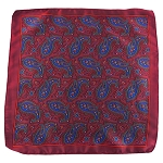 PH-01D | Burgundy w. Red and Royal Blue Multi-Colored Paisley Handkerchief