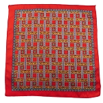 PH-02A | Red w. Gold and Orange Straight Lattice Multi-Colored Handkerchief