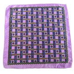 PH-02B | Lavender w. Steel Blue and Red Straight Lattice Multi-Colored Handkerchief