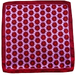 PH-03A | Burgundy w. Lavender Dotted Floral Pattern Handkerchief
