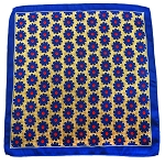 PH-03B | Royal Blue w. Light Yellow Dotted Floral Pattern Handkerchief