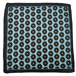 PH-03C | Black w. Aqua Green Dotted Floral Pattern Handkerchief
