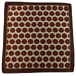PH-03D | Brown w. Desert Beige Dotted Floral Pattern Handkerchief