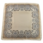 PH-04E | Latte w. Khaki Brown and Light Grey Floral Baroque Pattern Handkerchief