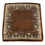 PH-04F | Brown w. Khaki Brown and Cream Floral Baroque Pattern Handkerchief