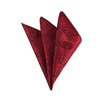 DH-181 | Red And Black Woven Paisley Handkerchief
