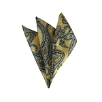 DH-182 | Navy, Powder Blue On Antique Gold Woven Paisley Handkerchief