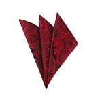 DH-184 | Red, Crimson On Black Woven Paisley Handkerchief