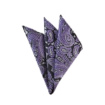 DH-185 | Purple, Lavender On Black Woven Paisley Handkerchief