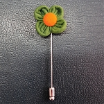LAP-01C | Green and Orange Fuzzy Floral Lapel Pin