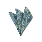 DH-07 | Lime Green and Steel Blue Woven Paisley Handkerchief