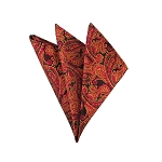 DH-10 | Wine Red, Golden Yellow and Black Woven Paisley Handkerchief