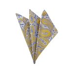 DH-12 | Mustard and Steel Blue on Platinum Woven Paisley Handkerchief