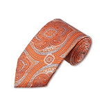 DT-06 | Tangerine and Sky Blue Woven Paisley Necktie