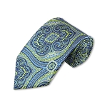 DT-07 | Lime Green and Steel Blue Woven Paisley Necktie