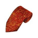 DT-09 | Wine, Red and Golden Yellow Woven Paisley Necktie