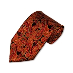 DT-10 | Wine Red, Golden Yellow and Black Woven Paisley Necktie