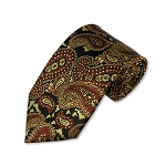DT-11 | Brown, Black and Honey Beige Woven Paisley Necktie