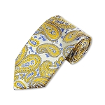 DT-12 | Mustard and Steel Blue on Platinum Woven Paisley Necktie