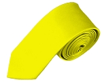SK-49 | Solid Lemon Yellow Skinny Tie For Men
