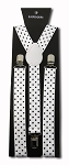 SUS-2058 | Solid White and Black Polka Dot Suspender