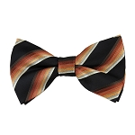 BK-03| Beige / Lite Coral / Brown Multi Shade Stripe On Black Men's Woven Bow Tie