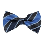 BK-07| Navy and Peacock Blue Two Tone Stripe Men's Woven Bow Tie