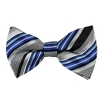 BK-08| Royal Blue and Black on Silver Multi Pattern Stripe Men's Woven Bow Tie