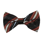 BK-16| Orange, Light Blue, Brown, and Black Multi Repp Stripe Men's Woven Bow Tie
