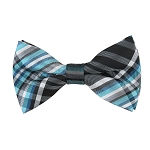 BK-20| Multi Shade Blue and White Plaid Men's Woven Bow Tie