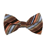 BK-33|Steel Blue, Lite Coral, and Black Multi-Repp Stripe Men's Woven Bow Tie
